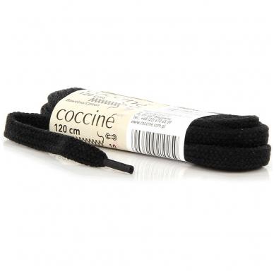 Batų raišteliai medvilniniai vaškuoti, juodos spalvos 120cm Coccine, 1 pora 2