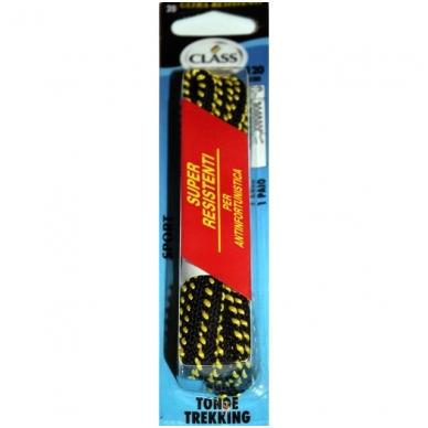 Sportinės avalynės batų raišteliai juodi su geltona juostele Nr.20 Class, 120 cm (1 pora)