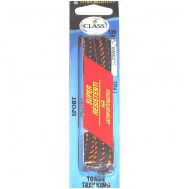 Sportinės avalynės batų raišteliai juodi su oranžine juostele Nr.20 Class, 120 cm (1 pora)