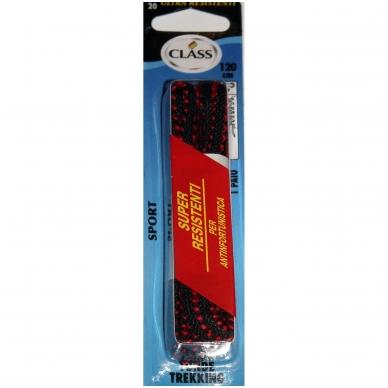 Sportinės avalynės batų raišteliai juodi su raudona juostele Nr.20 Class, 120 cm (1 pora)